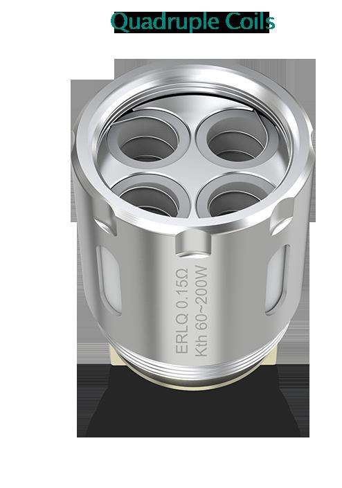 štyri Jednotlivé špirálky sú v samostatných komorách s vlastným prívodom e-liquidu