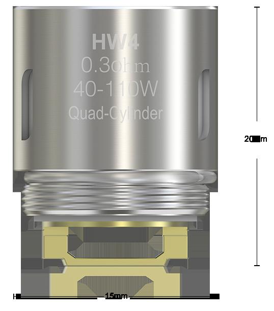 V sebe ukrýva štyri špirálky Hlava je vhodná pre režim výkonu, Bypass a Smart, nie je určená pre teplotné režimy.
