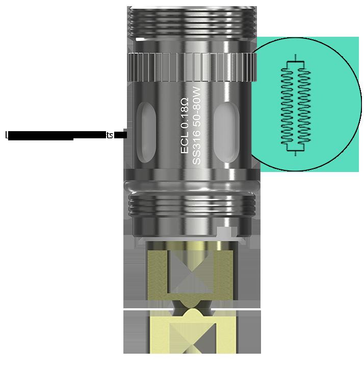 zväčšené otvory nasávania e-liquidu a vzduchu