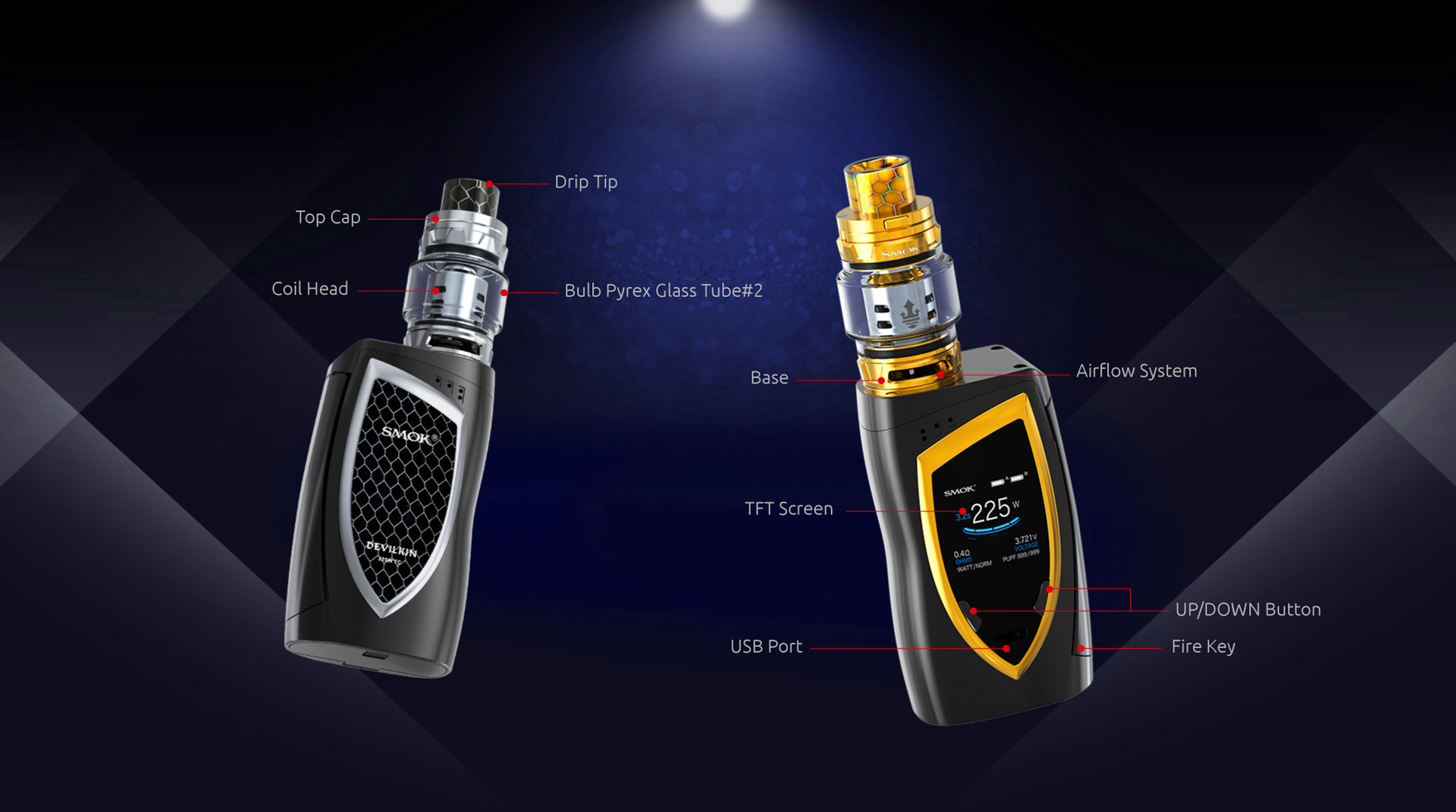 Smoktech full Kit Devilkin 225W - Black, Prism Blue