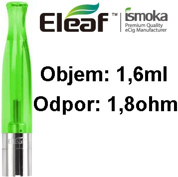 Eleaf (iSmoka) BCC-CT clearomizér 1,6ml - zelená