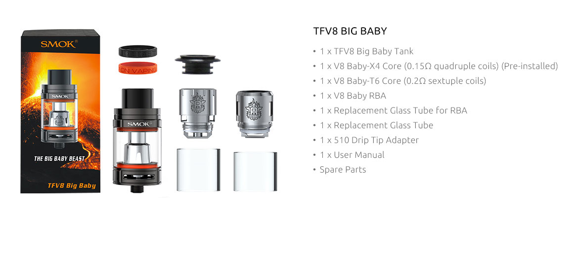 SmokTech TFV8 Big Baby clearomizer - čierny