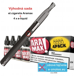 ARAMAX Výhodná Sada 4 x Max Strawberry 6mg + e-cigareta Aramax Vaping Pen