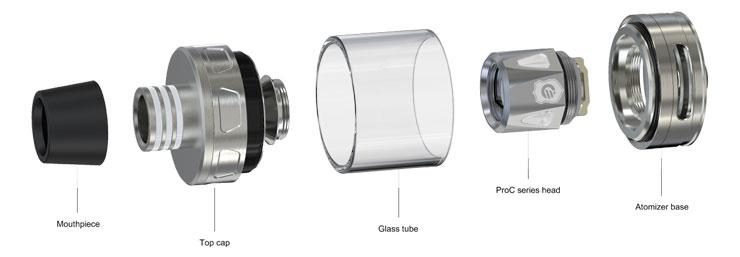 rozobratý clearomizér na jednotlivé časti