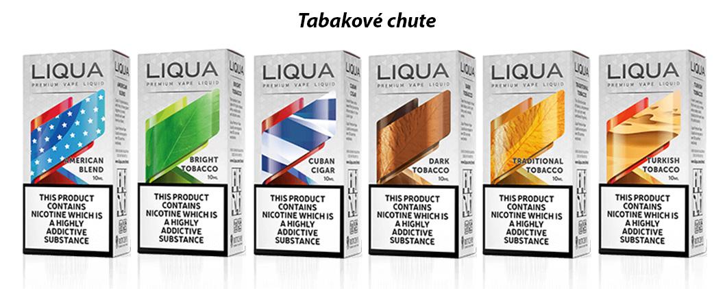 šesť základných príchutí klasických tabakových liqua