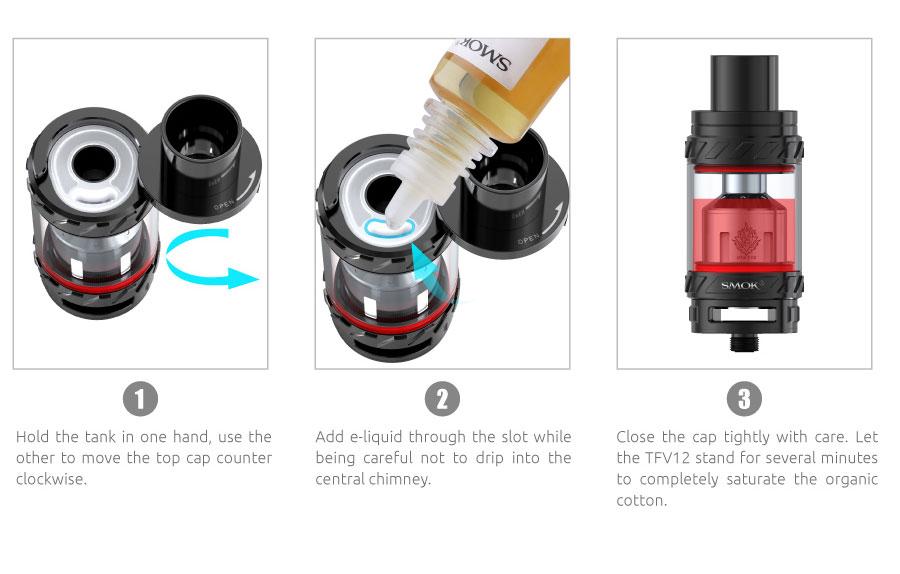 znázornenie plnenia e-liquidom