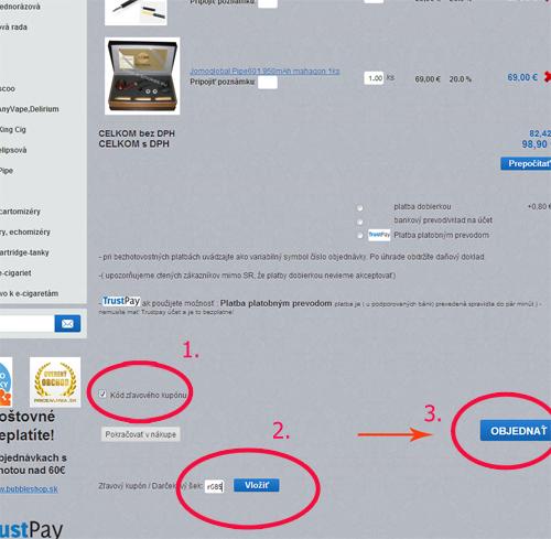 návod ako vložiť zlavový kupon do objednávky pri nákupe e-smokes.eu Zdravé fajčenie